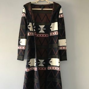 Tribal Print Long Jacket Cardigan by Forever 21